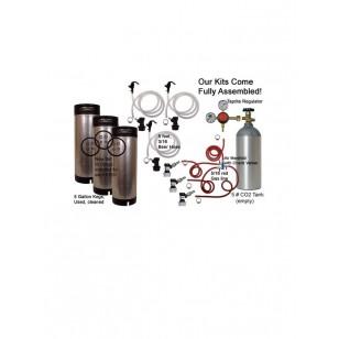 3 Keg Basic Keg Homebrew Kit, Dispenses three kegs at once! (Seperate Check Valves!)