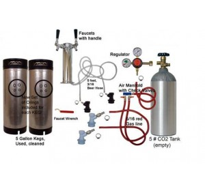 2 Faucet Stainless Economy Tower Kit with Two Cornelius/Firestone Kegs, Dual Check Valves.