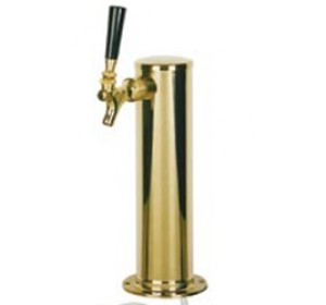"Single Faucet 2 1/2"" Stainless Tower with Brass Plate"
