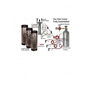 3 Faucet Tower Economy Kit with Three Cornelius/Firestone Kegs
