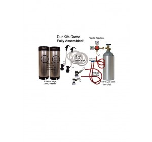 2 Keg 5# CO2 Basic Keg Kit, Dispenses two kegs at once! (Separate Check Valves!)