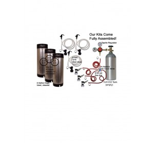 3 Keg Basic Keg Homebrew Kit, Dispenses three kegs at once! (Seperate Check Valves!)